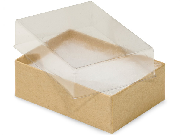 "Clear Lid Kraft Base Jewelry Boxes, 3x2.25x1"", 100 Pack, Fiber Fill"