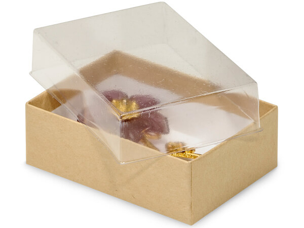 "3x2-1/8x1"" Clear Lid Display Boxes With Kraft Bases"