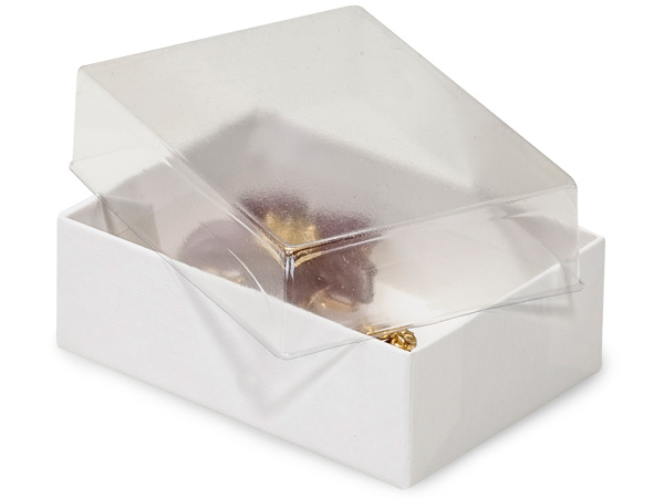 "3x2-1/8x1"" Clear Lid Display Boxes With White Swirl Base"