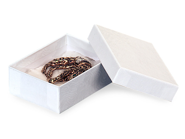 "White Embossed Swirl Jewelry Boxes, 3x2.25x1"", 100 Pack, Cotton Fill"