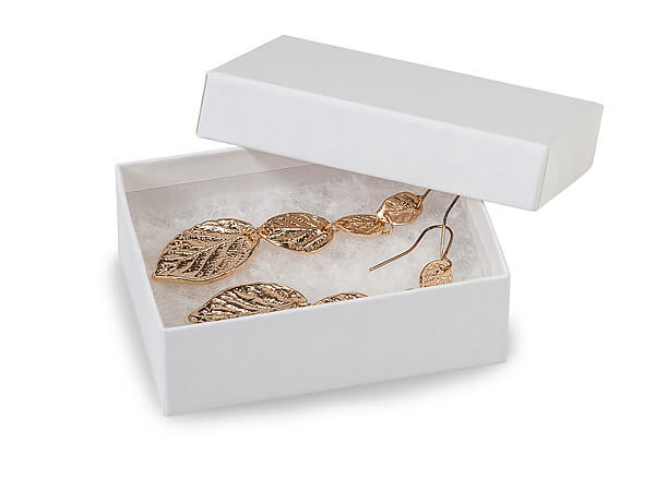 """White Kraft Recycled Jewelry Boxes, 3x2.25x1"""", 10 Pack, Cotton Fill"""