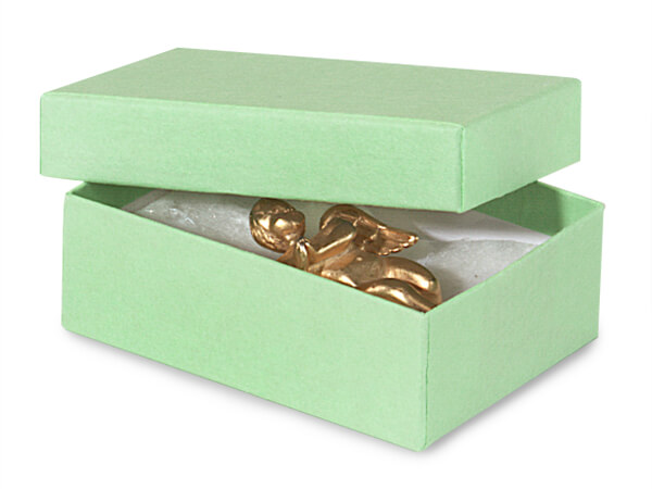 "Lt Green Jewelry Gift Box 3x2.25x1"", 100 Pack, Cotton Fill"