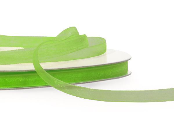 "Apple Green Sheer Organza Ribbon 1/4""x100 yds 100% Nylon"