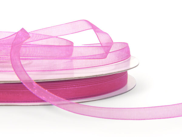 "Fuchsia Sheer Organza Ribbon 1/4""x100 yds 100% Nylon"