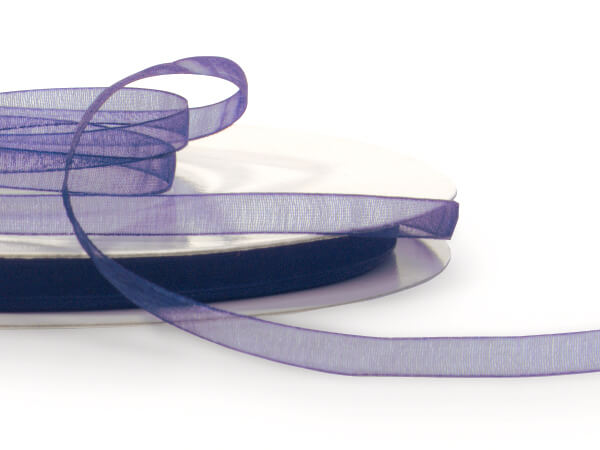 """Navy Blue Sheer Organza Ribbon, 1/4""""x100 yards"""