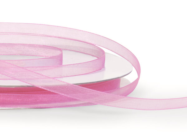 "Pretty Pink Sheer Organza Ribbon 1/4""x100 yds 100% Nylon"