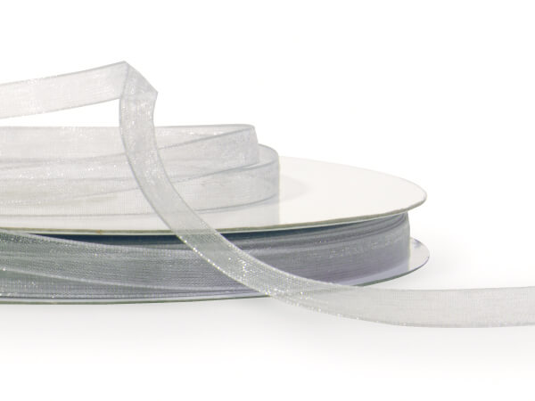 "Silver Sheer Organza Ribbon 1/4""x100 yds 100% Nylon"
