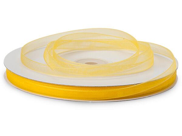"Sunshine Yellow Sheer Organza Ribbon, 1/4""x100 yards"