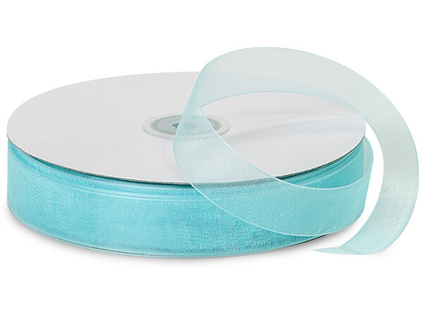 "Aqua Sheer Organza Ribbon 7/8""x100 yds 100% Nylon"