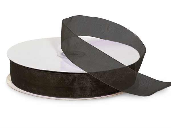 "Black Sheer Organza Ribbon, 7/8""x100 yards"