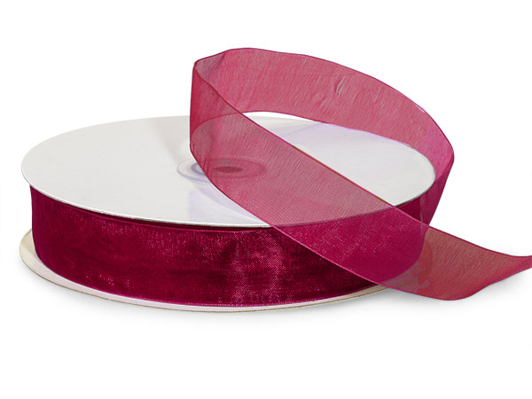"Burgundy Sheer Organza Ribbon 7/8""x100 yds 100% Nylon"