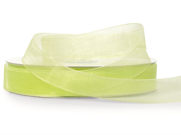 "Clean Green Sheer Organza Ribbon 7/8""x100 yds 100% Nylon"