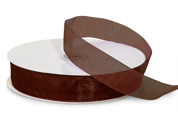 "Chocolate Brown Sheer Organza Ribbon, 7/8""x100 yards"