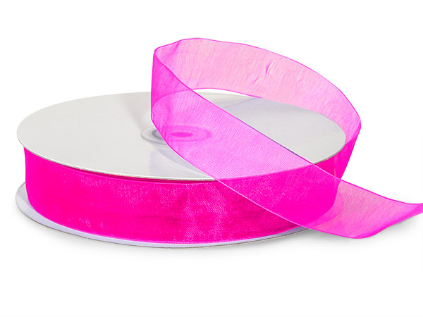 "Fuchsia Sheer Organza Ribbon 7/8""x100 yds 100% Nylon"