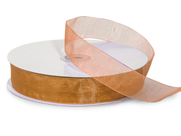 "Gold Sheer Organza Ribbon, 7/8""x100 yards"