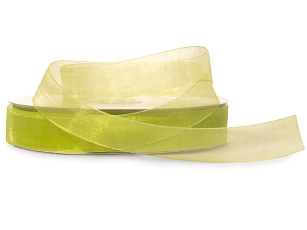 "Kiwi Green Sheer Organza Ribbon, 7/8""x100 yards"
