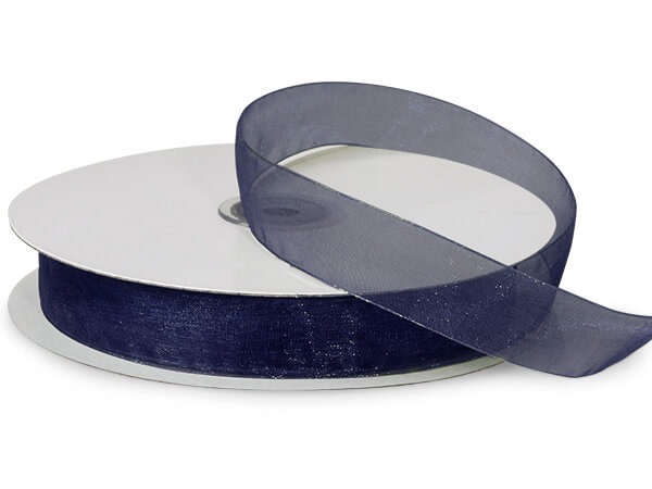 "Navy Blue Sheer Organza Ribbon, 7/8""x100 yards"