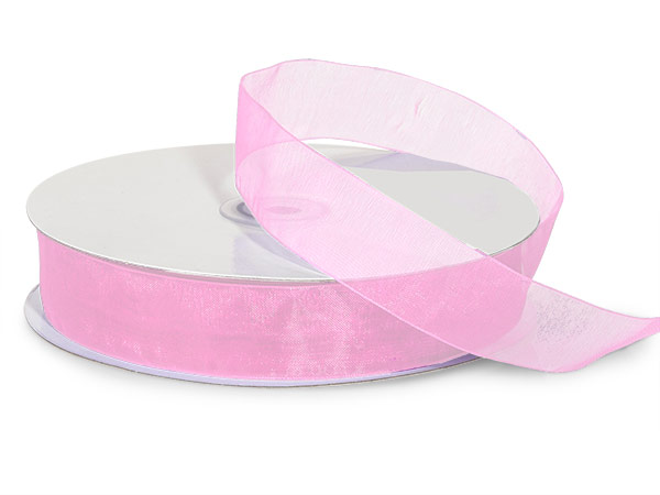 "Pink Sheer Organza Ribbon 7/8""x100 yds 100% Nylon"
