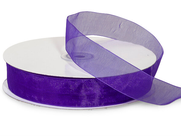 "Purple Sheer Organza Ribbon, 7/8""x100 yards"