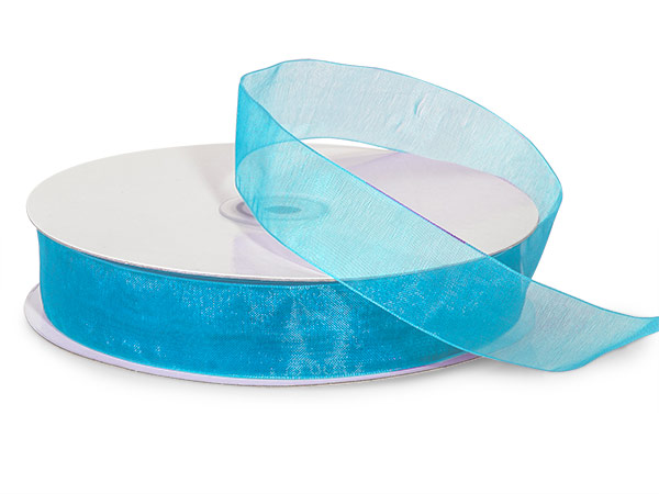 "Robins Egg Blue Sheer Organza Ribbon, 7/8""x100 yards"
