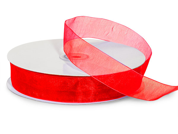 "Red Sheer Organza Ribbon, 7/8""x100 yards"