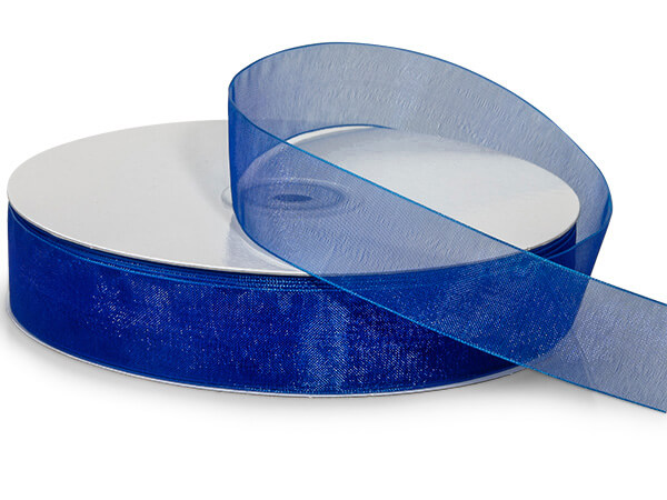 "Royal Blue Sheer Organza Ribbon, 7/8""x100 yards"