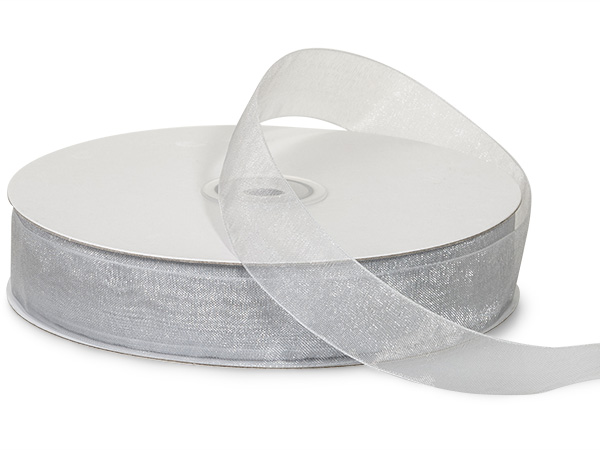 "Silver Sheer Organza Ribbon, 7/8""x100 yards"