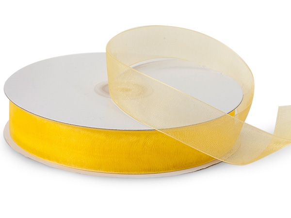 "Sunshine Yellow Sheer Organza Ribbon, 7/8""x100 yards"