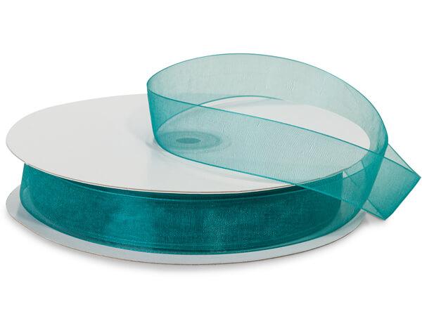 """Teal Blue Sheer Organza Ribbon, 7/8""""x100 yards"""