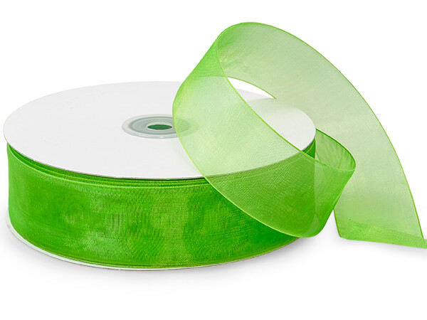 "Apple Green Sheer Organza Ribbon 1-1/2""x100 yds 100% Nylon"