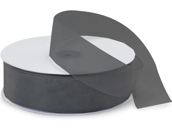 "Charcoal Sheer Organza Ribbon 1-1/2""x100 yds 100% Nylon"