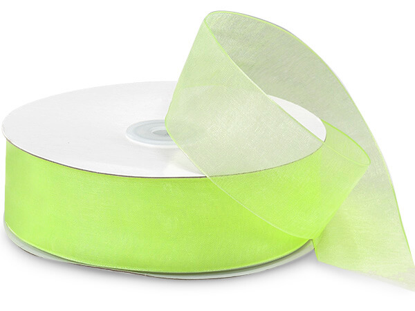 "Clean Green Sheer Organza Ribbon 1-1/2""x100 yds 100% Nylon"