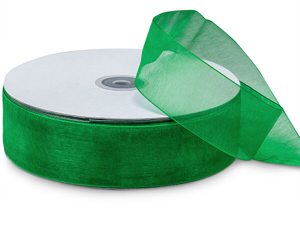 "Emerald Green Sheer Organza Ribbon, 1-1/2""x100 yards"