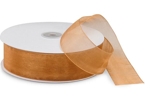 "Gold Sheer Organza Ribbon 1-1/2""x100 yds 100% Nylon"