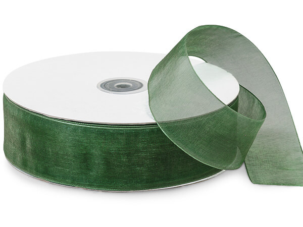 "Hunter Green Sheer Organza Ribbon, 1-1/2""x100 yards"