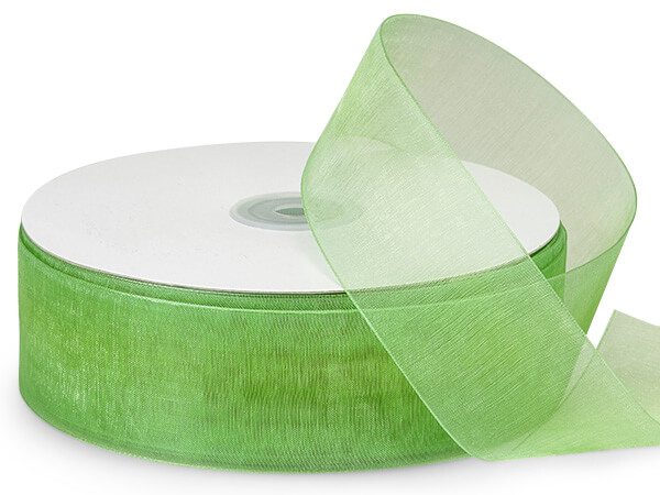 "Jungle Green Sheer Organza Ribbon, 1-1/2""x100 yards"