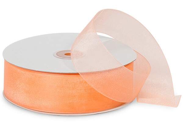 Orange Melon Sheer Organza Ribbon, 1-1/2x100 yards