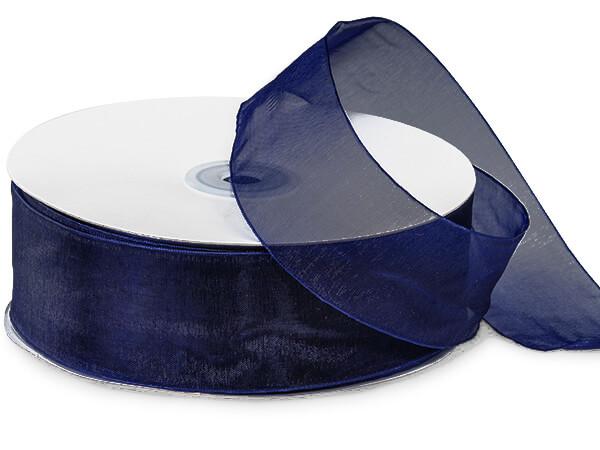 "Navy Blue Sheer Organza Ribbon 1-1/2""x100 yds 100% Nylon"