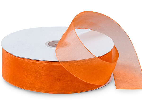 "Tropical Orange Sheer Organza Ribbon, 1-1/2""x100 yards"