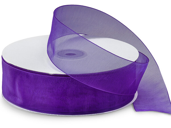 "Purple Sheer Organza Ribbon 1-1/2""x100 yds 100% Nylon"