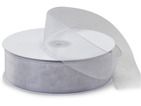 "Silver Sheer Organza Ribbon 1-1/2""x100 yds 100% Nylon"