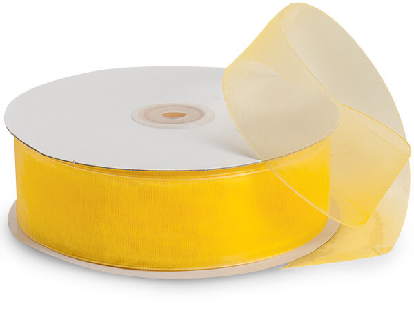 "Sunshine Yellow Sheer Organza Ribbon, 1-1/2""x100 yards"