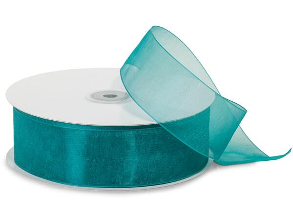"""Teal Blue Sheer Organza Ribbon, 1-1/2""""x100 yards"""