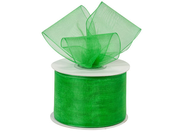 "Emerald Green Sheer Organza Ribbon, 2""x25 yards"