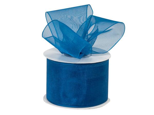 """Royal Blue Sheer Organza Ribbon, 2""""x25 yards"""
