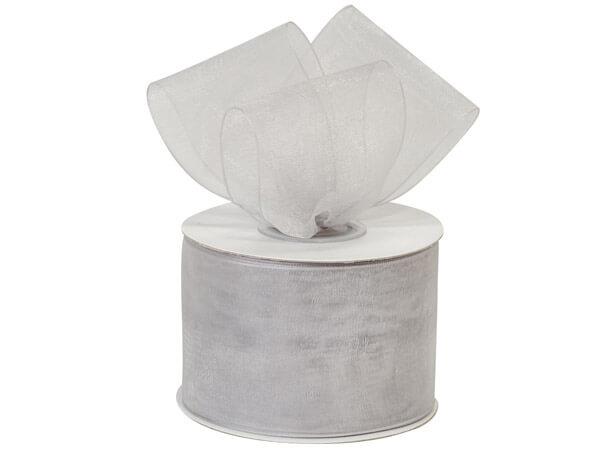 """Silver Sheer Organza Ribbon, 2""""x25 yards"""