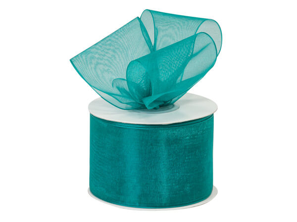 "Teal Blue Sheer Organza Ribbon, 2""x25 yds"