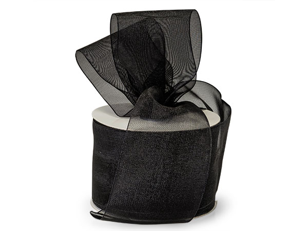 "Black Sheer Organza Ribbon 2-1/2""x50 yds 100% Nylon"