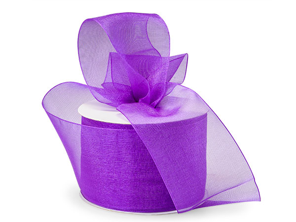 "*Purple Sheer Organza Ribbon 2-1/2""x50 yds 100% Nylon"