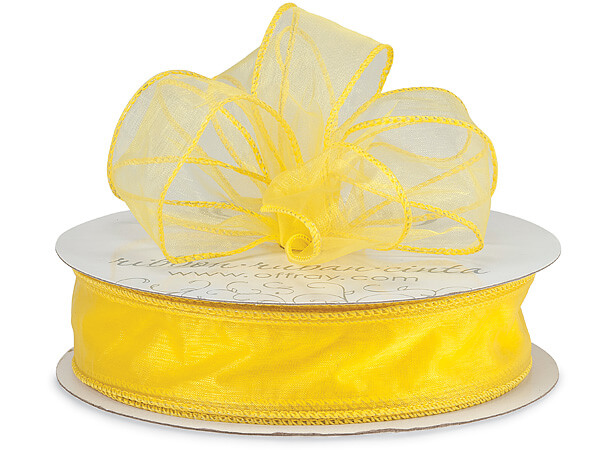 "Bright Yellow Wired Sensation Sheer 1-1/2""x50 yds 100% Nylon Ribbon"